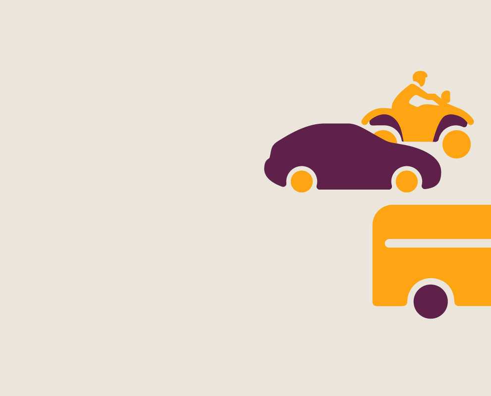 An illustration of a car and recreational vehicles moving off screen.