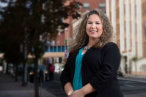Business banking officer Maren Maier in Downtown Spokane