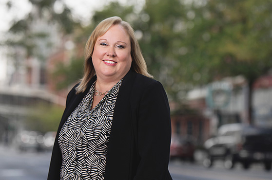 Banking officer Cheryl Conners in Downtown Spokane