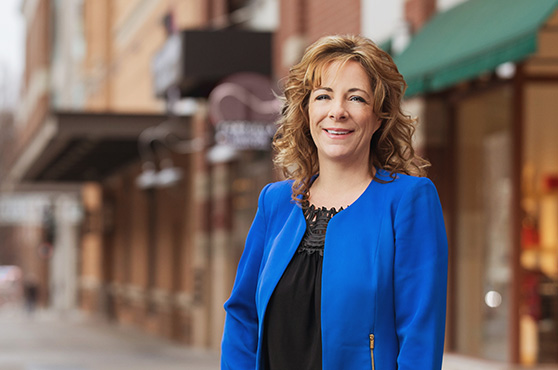 Commercial banking manager Christie Moore in Downtown Spokane