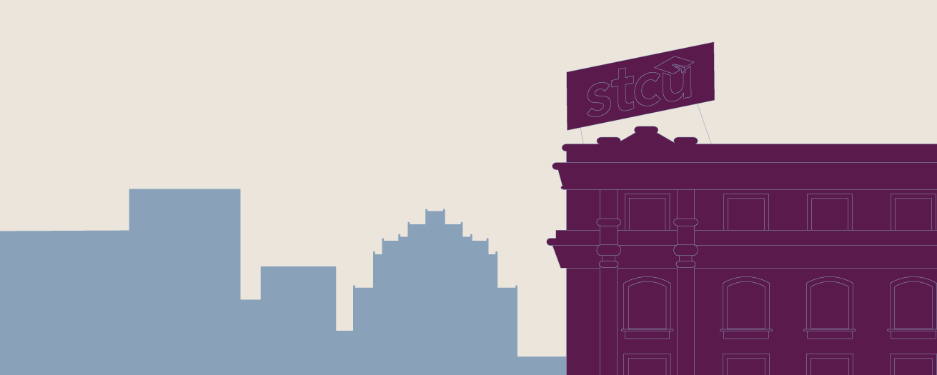 Illustration of the STCU sign on the Hutton building in downtown Spokane