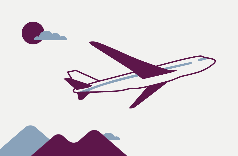 Illustration of an airplane signifying rewards points being spent