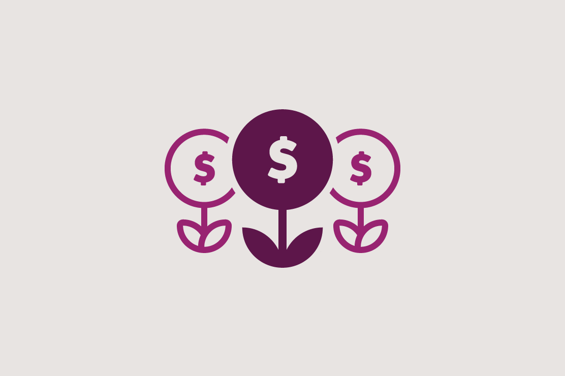 Illustration of money plants growing