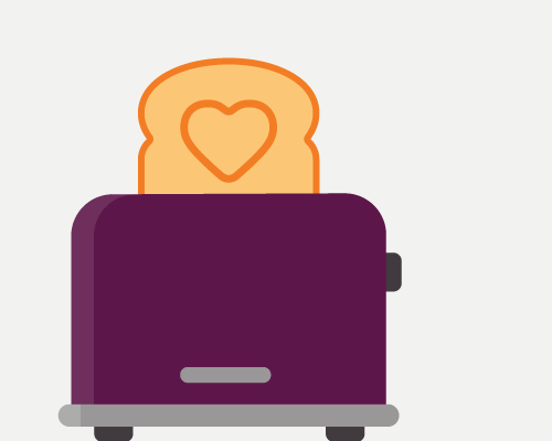 An illustration of a piece of toast, with a heart, that's popped up in the toaster.