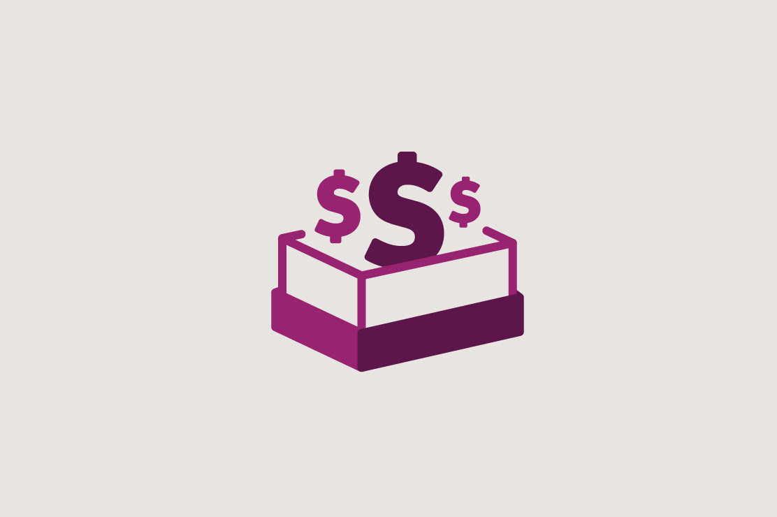Illustration of money in a shoe box