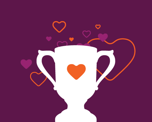 Illustration of a trophy with a heart.