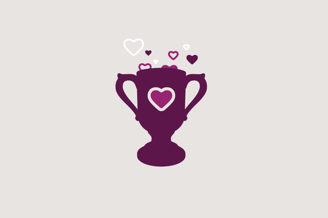Illustration of a trophy with hearts