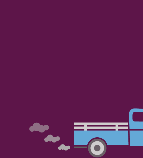 An illustration of an old truck, coughing blue smoke and poor gas mileage.