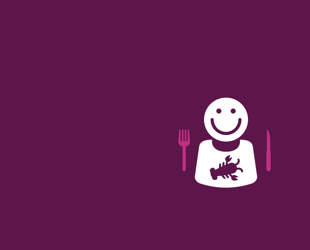 Illustration of a happy, hungry fellow, wearing a lobster bib and holding a knife and fork for Inlander Restaurant Week.