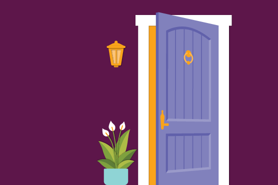 An illustration of a friendly front door to a home.
