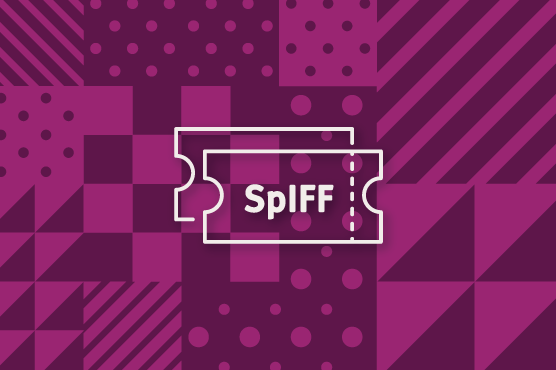 An illustration of a SpIFF movie tickets on purple backdrop.