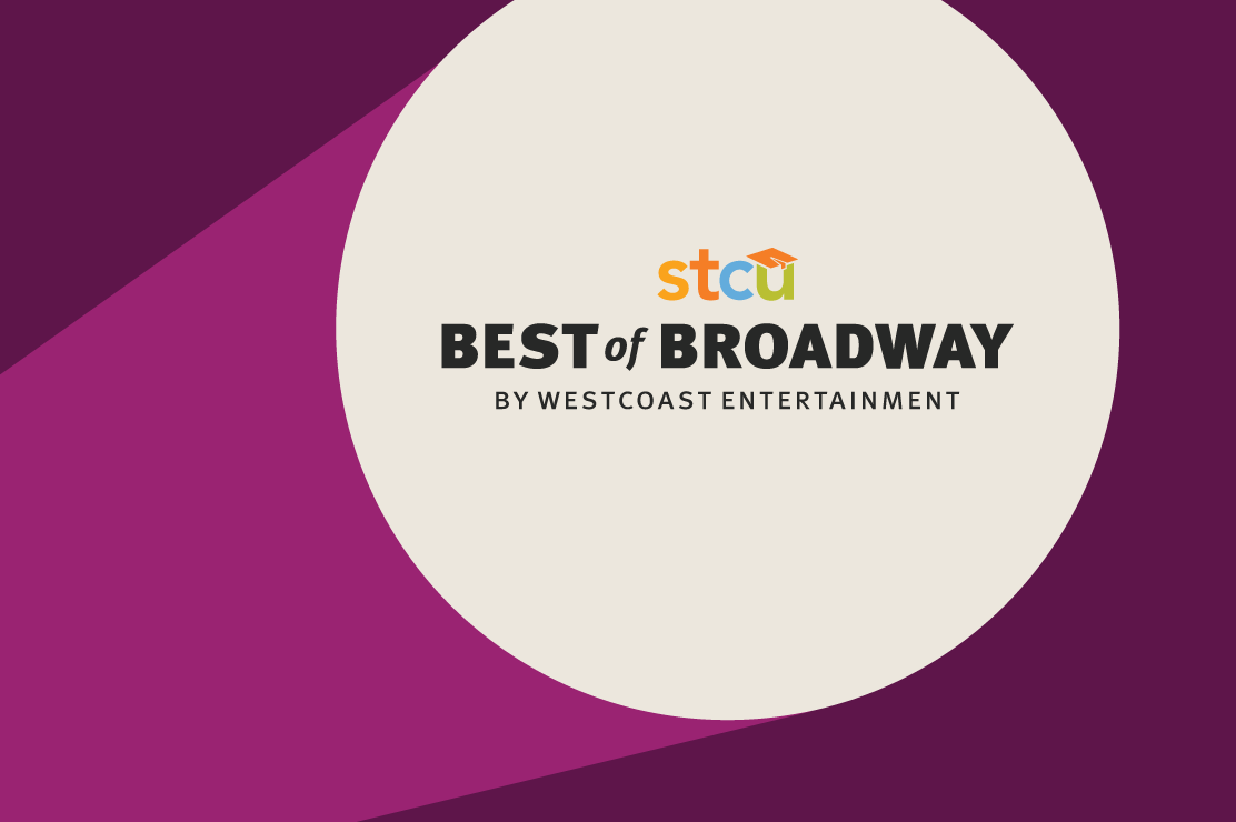 "An illustration of a theater spotlight shining the words ""STCU Best of Broadway"" against the screen."
