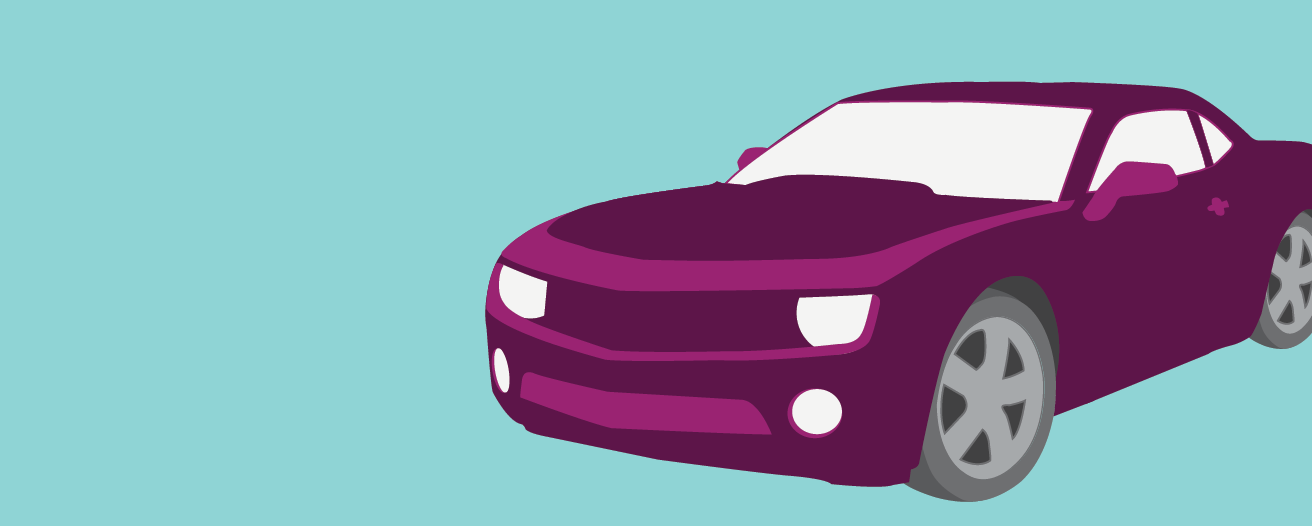 Illustration of a purple two-door car.
