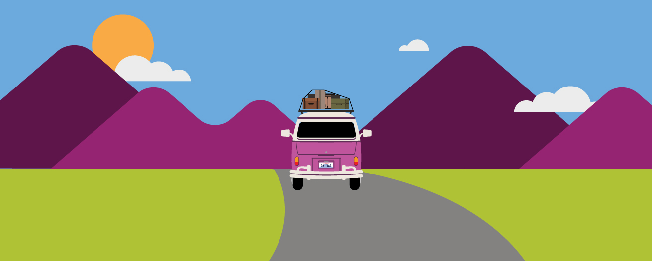 An illustration of a traveling van coming down the road.
