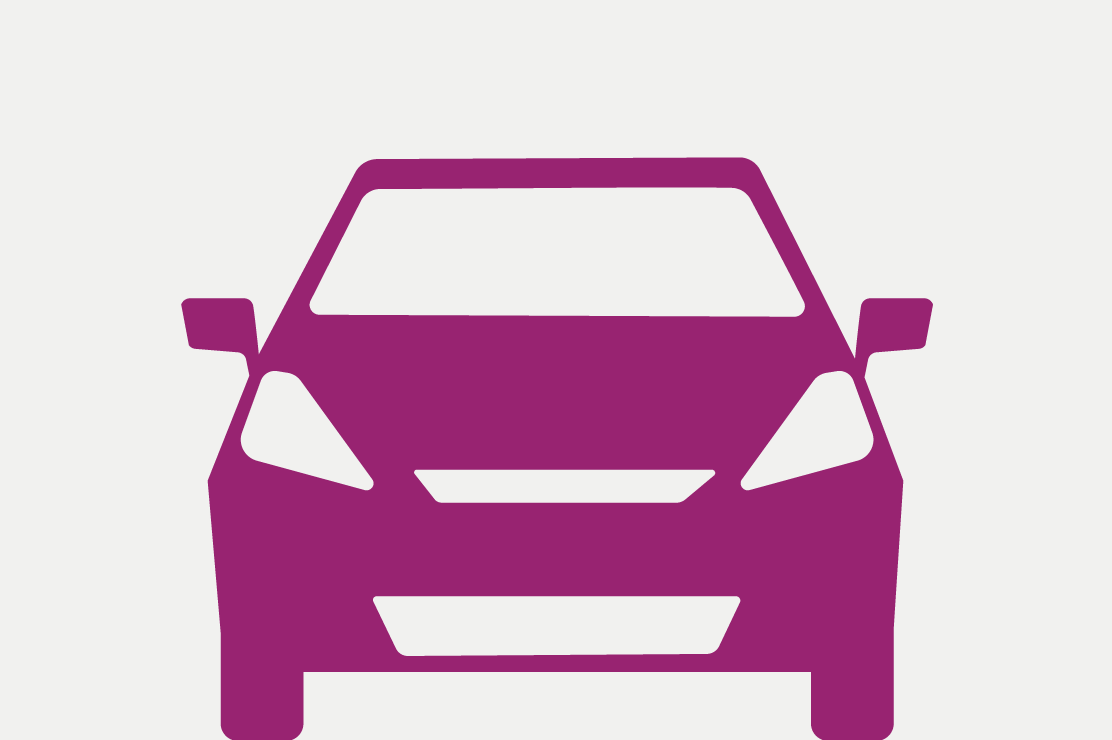 Purple car on white background