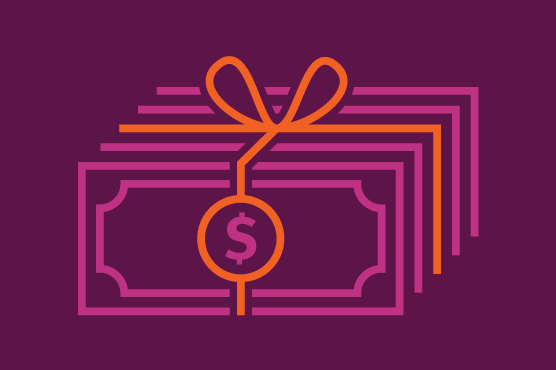 An illustration of a gift bow tied around a stack of money.