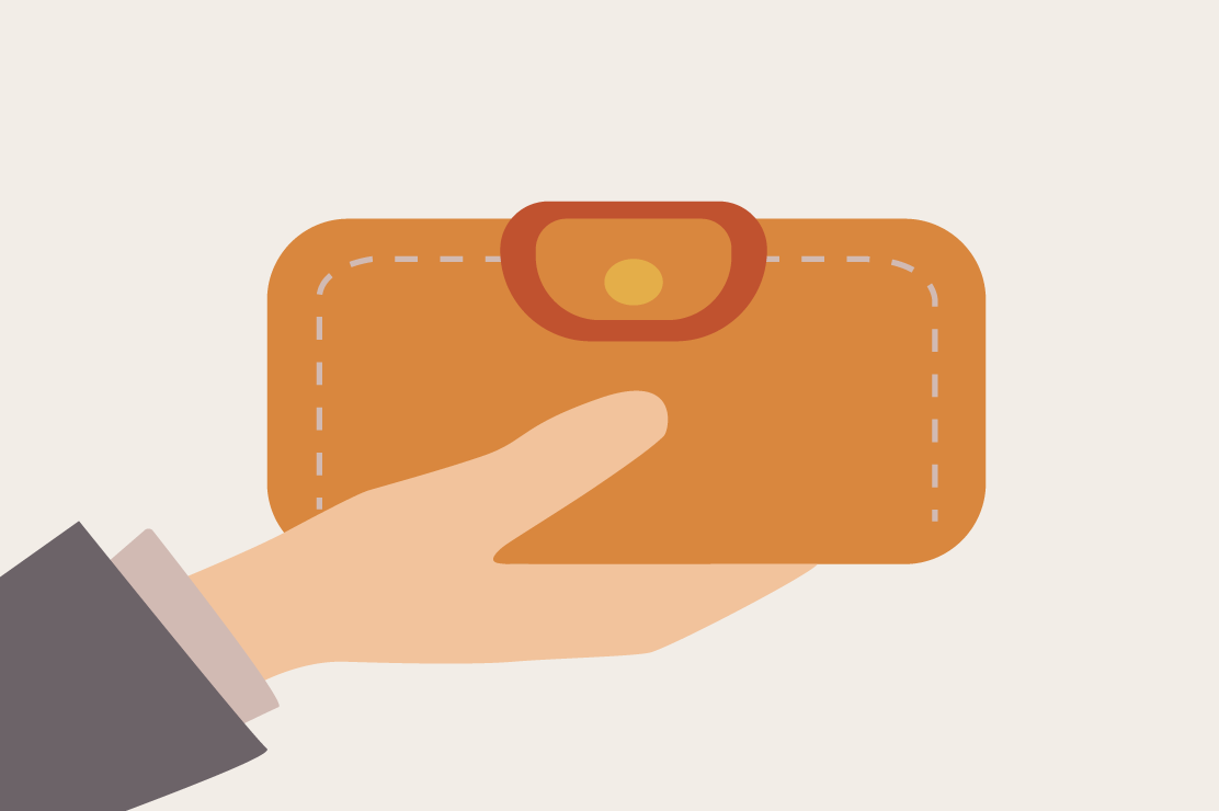 An illustration of a person holding a wallet.
