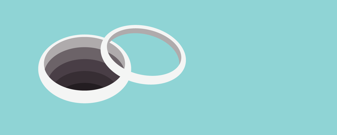 Illustration of wedding bands, one of which is bottomless hole.
