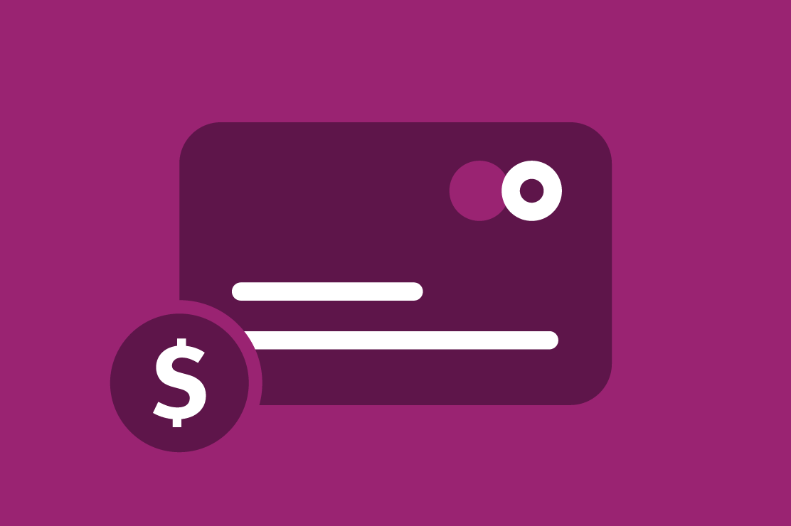 Credit card on a purple background.