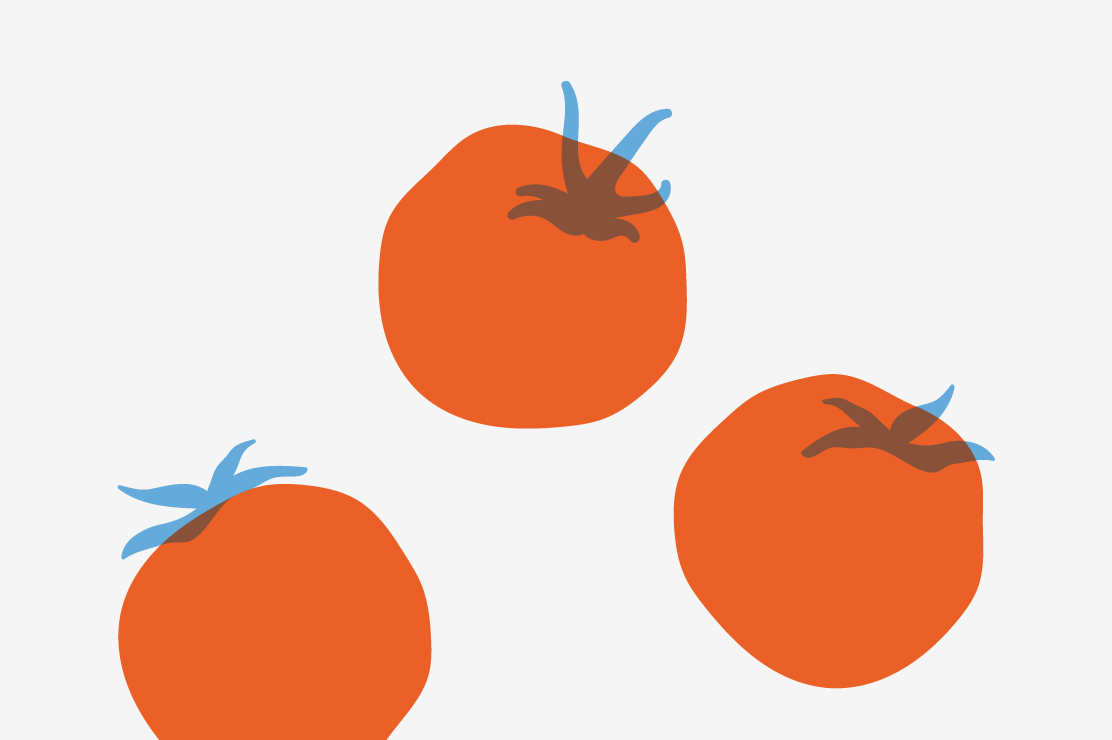 Illustration of three tomatoes.
