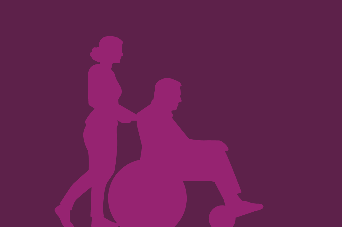 An illustration of a woman pushing man in wheelchair.