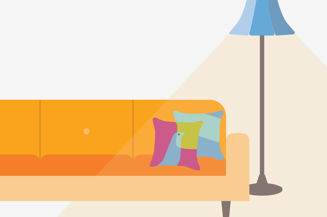 Illustration of an orange couch and blue lamp in a livingroom.
