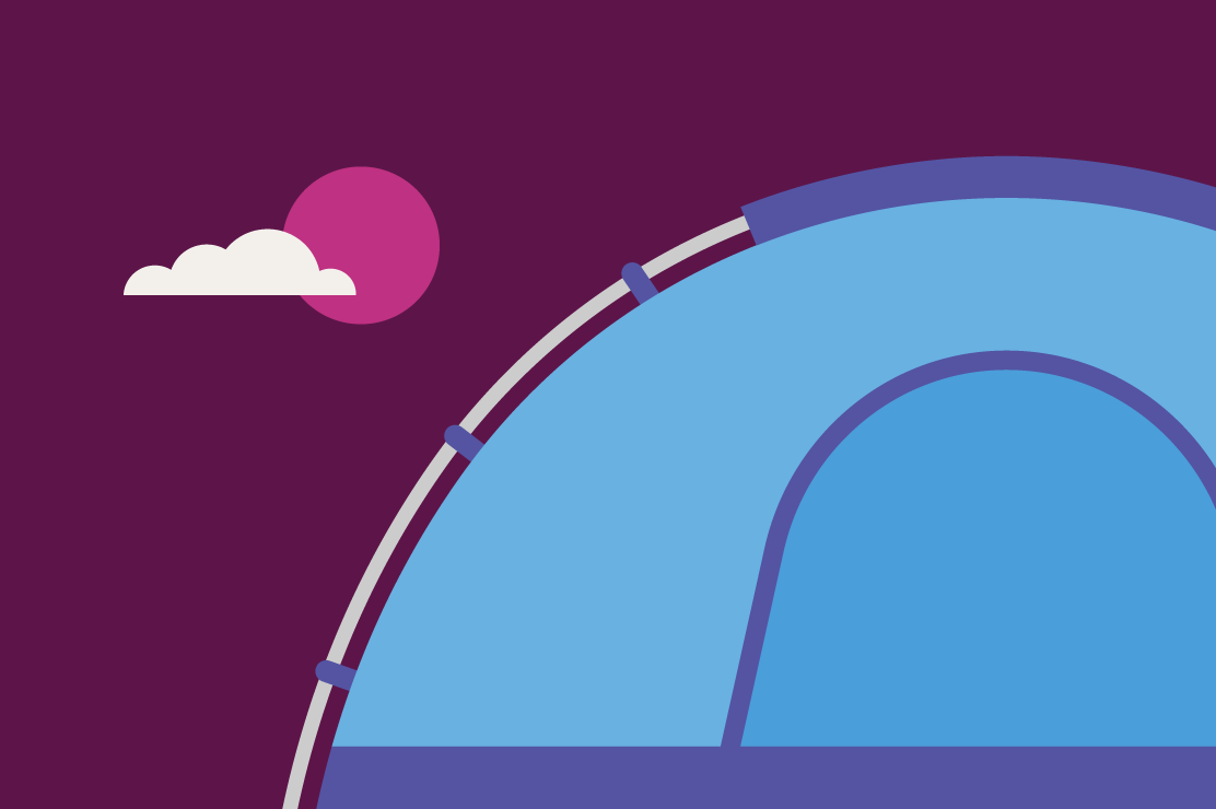 Blue tent on purple background