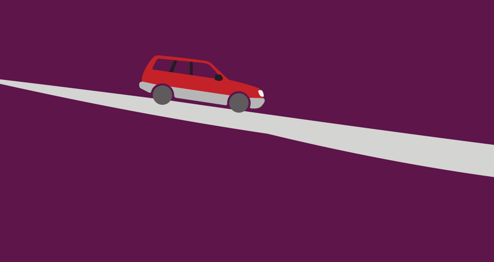 An illustration of a station wagen slowly descending a lonely road.