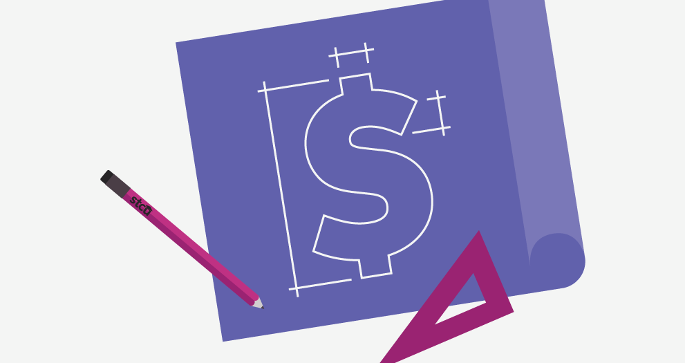 Illustration of blueprints with a dollar sign.