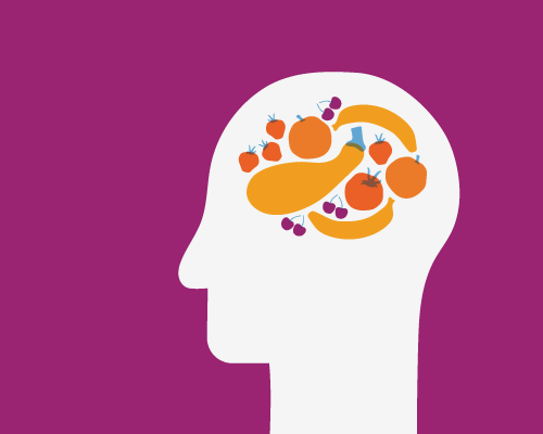 Healthy food inside person's brain
