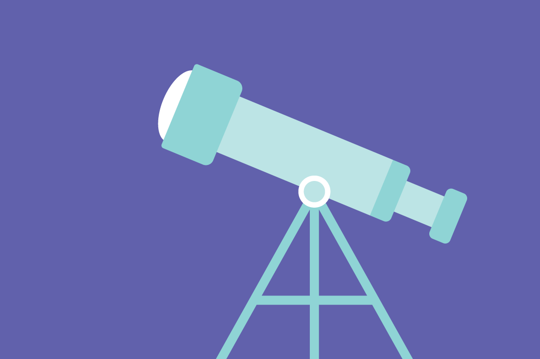 An illustration of a telescope standing against a dark sky.