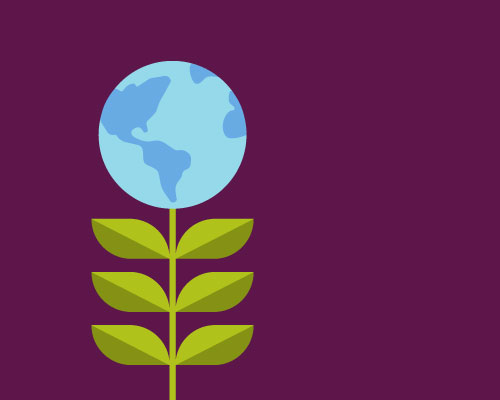 An illustration of a blue planet Earth growing atop a green plant.