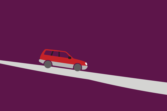 An illustration of a station wagon descending a long road.