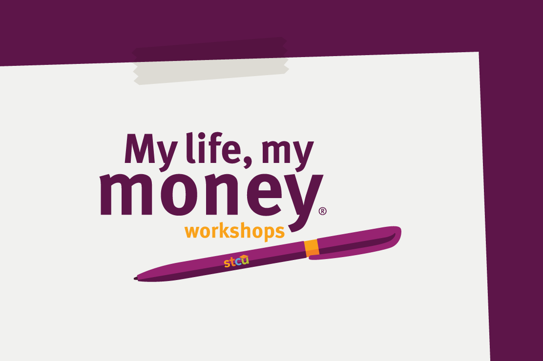 "An illustration of the ""My life, my money workshops"" logo with a purple STCU pen."