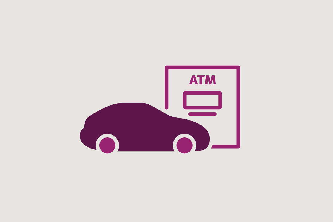 Illustration of a car at a drive-up ATM.