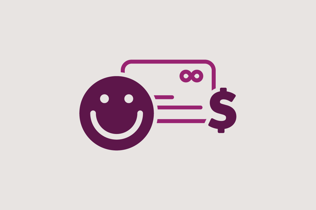 Illustration of a smiley face, credit card, and a dollar sign