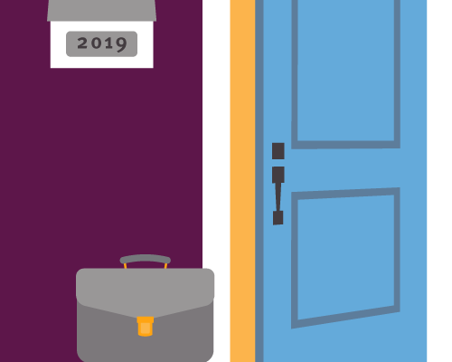 Illustration of a briefcase at the front door of a home.