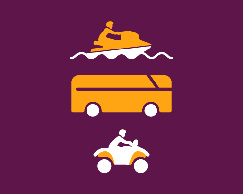 An illustration of a personal watercraft, motorhome, and ATV.