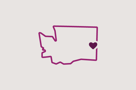 Illustration of Washington state with a heart near Spokane