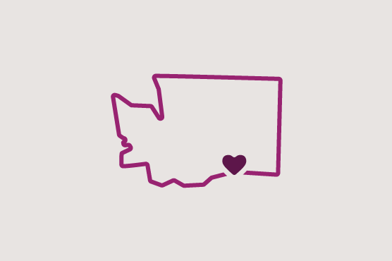 Illustration of Washington state with a heart near Tri-Cities