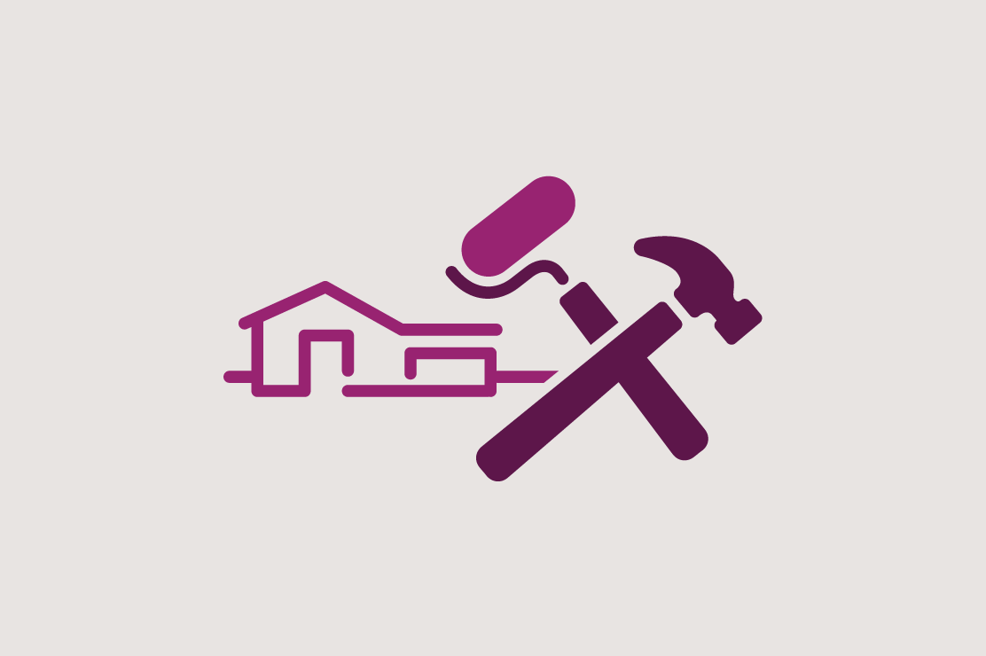 Illustration of a house and tools for home equity loans