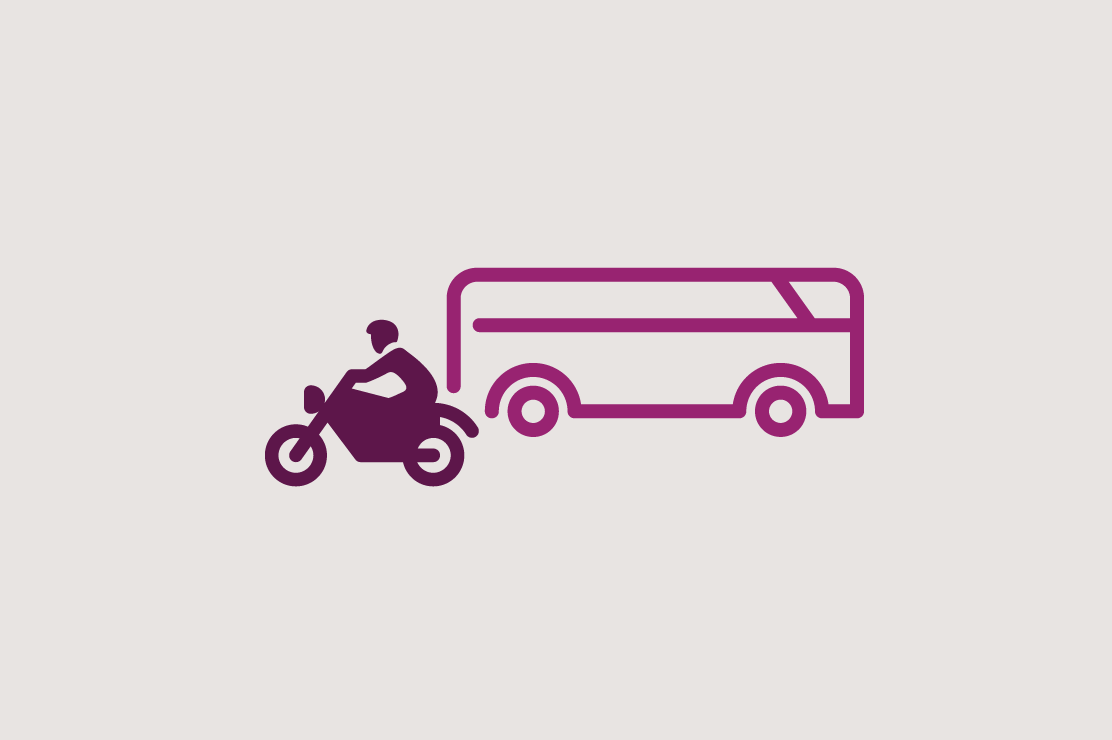 Illustration of a motorcycle and camper for recreational vehicle loans