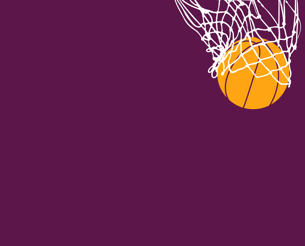 An illustration of a basketball falling through a net for a score.