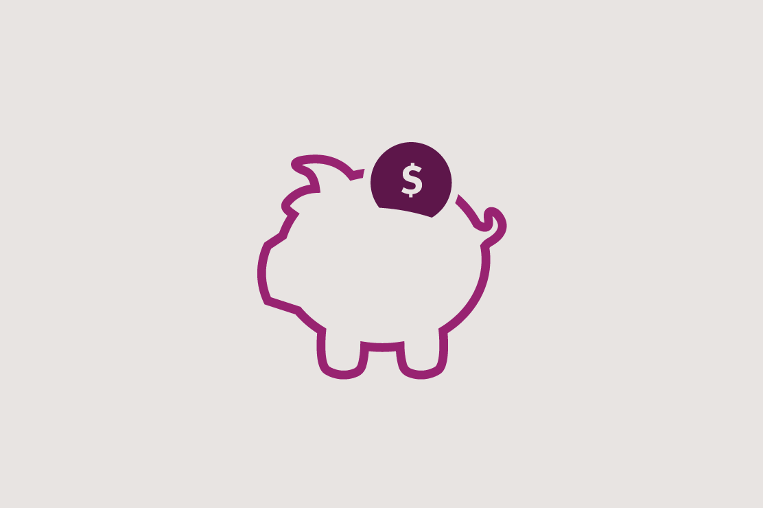 Illustration of a piggy bank with money being put into it