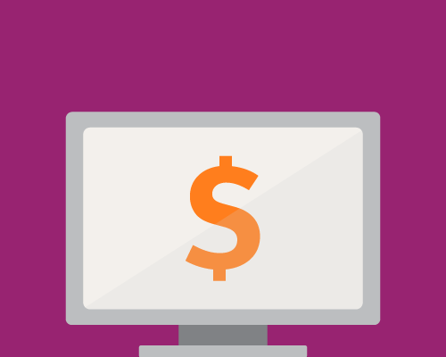 Illustration of a computer screen and a dollar sign