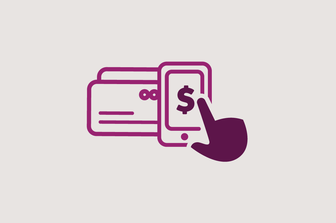 Illustration of a phone and credit cards
