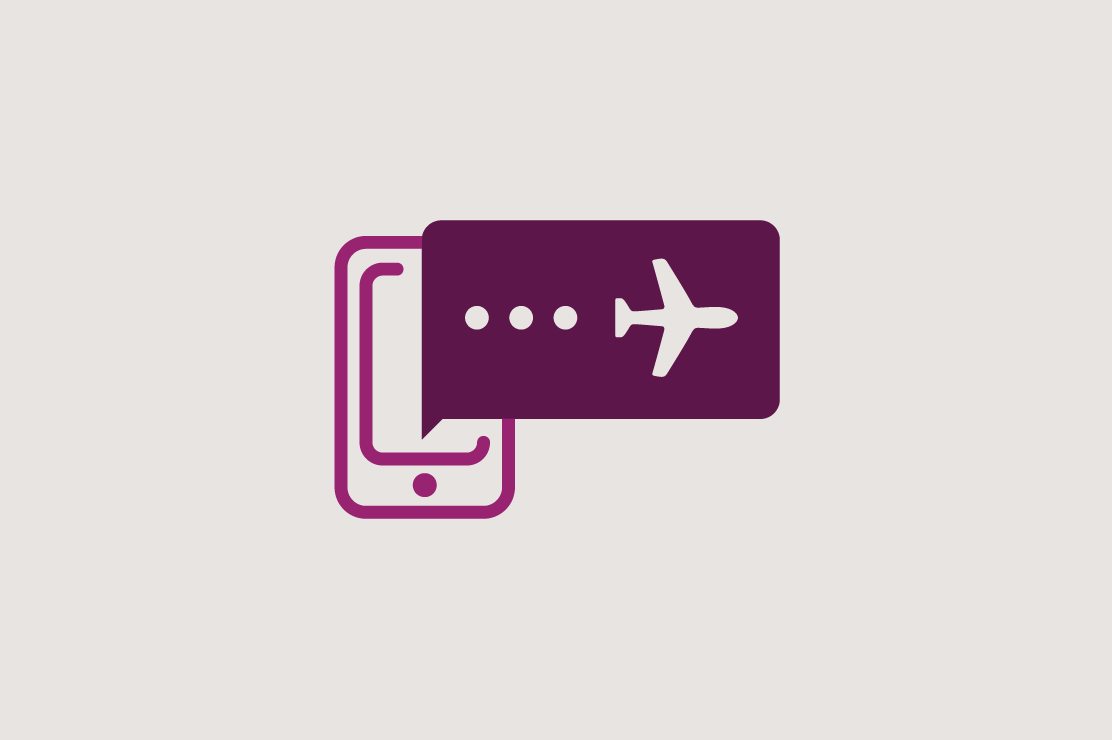 Illustration of a phone and an airplane