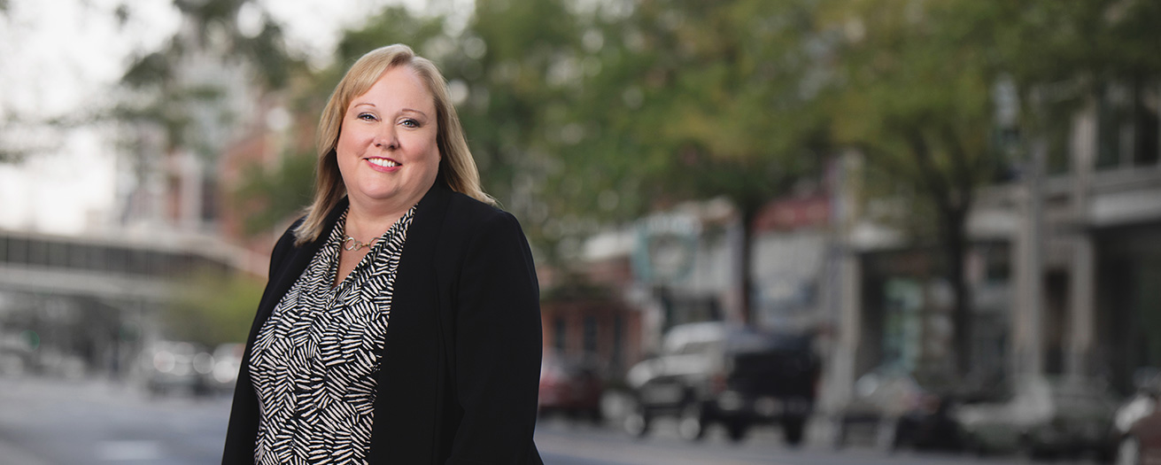Loan officer Cheryl Conners in Downtown Spokane