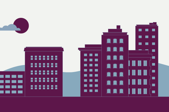 Illustration of a downtown business district skyline.