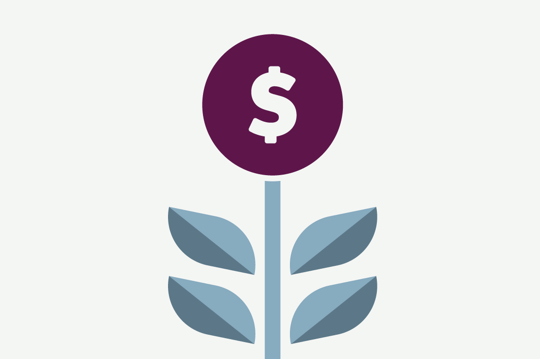 Illustration of money growing like a plant